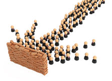 Business Symbols, Brick Wall Crowd Royalty Free Stock Photo