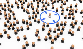 Business Symbols, Circled Out. Crowd of small symbolic 3d figures, isolated Royalty Free Stock Photography