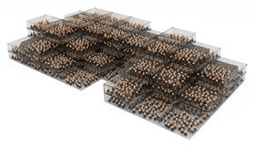 Business Symbols, Crowd Boxes. Crowd of small symbolic 3d figures, over white Stock Photography