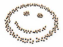 Business Symbols, Crowd Smiley. Crowd of small symbolic 3d figures, isolated Stock Image