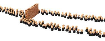 Business Symbols, Crowd Wall Obstacle. Crowd of small symbolic 3d figures flowing around an obstacle, isolated Stock Photography