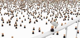 Business Symbols, Crowds Below. Crowd of small symbolic 3d figures, over white Royalty Free Stock Image