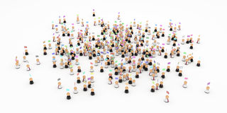 Business Symbols, Email Crowd. Crowd of small symbolic 3d figures, isolated Royalty Free Stock Photos