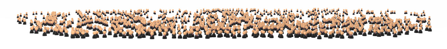 Business Symbols, Huge Crowd. Crowd of small symbolic 3d business people figures, isolated Stock Images