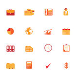 Business symbols icon set. Various business icons in orange and red tones Stock Photography