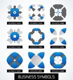 Business symbols icon set. Geometric concept Stock Images