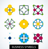 Business symbols icon set. Geometric concept Royalty Free Stock Images