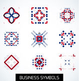 Business symbols icon set. Geometric concept Royalty Free Stock Photography