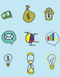 Business Symbols. In this illustration are different symbols of bussines,money,charts,idea,money,message, time Royalty Free Stock Photography