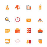 Business Symbols In Orange Tones Royalty Free Stock Images