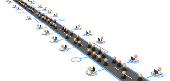 Business Symbols, Information Highway. Crowd of small symbolic 3d figures, over white Royalty Free Stock Images