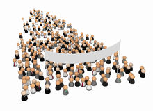 Business Symbols, Large Banner. Crowd of small symbolic 3d figures, isolated Royalty Free Stock Photo