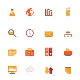 Business symbols in orange tones Royalty Free Stock Images