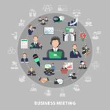 Business symbols round composition. Business meeting composition with isolated colourful icons and silhouette pictograms of commercial ideas meetings and Royalty Free Stock Image