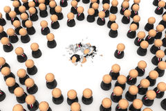 Business Symbols, Shattered. Crowd of small symbolic 3d figures, isolated Stock Photos