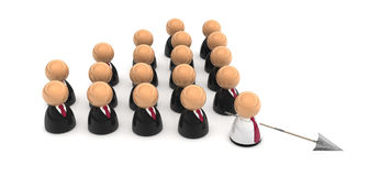 Business Symbols, Spearhead. Crowd of small symbolic 3d figures, isolated Stock Photography
