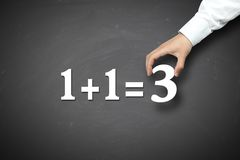 Business Synergy Concept. 1+1=3 with Businessman holding on a blackboard Stock Image
