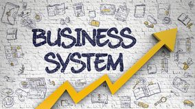 Business System Drawn on White Brickwall. 3d. Brick Wall with Business System Inscription and Orange Arrow. Development Concept. Business System - Development Stock Photo