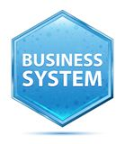 Business System crystal blue hexagon button stock illustration