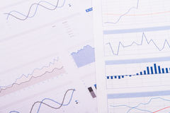 Business Table with Bar Chart Graphs Stock Image