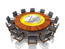 Business table and chairs. A view overlooking a round business or conference table and chairs with a business centerpiece Stock Photo