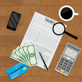 Business table with coffee and tax form Stock Photo
