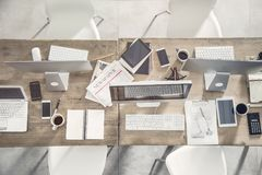 Business table with office equipments Stock Image