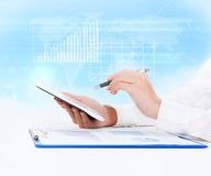 Business tablet graph Stock Photo