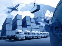 Business with tablet of worldwide cargo transport or global business commerce concept or import-export commercial logistic. Shipping business Elements of this stock images