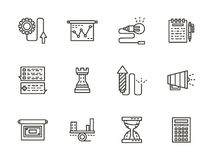 Business tactic black line icons collection. Symbols for business. Startup, projects, business planning, analytics. Set of black flat line icons. Elements of web Royalty Free Stock Image