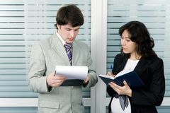 Business talk Stock Images