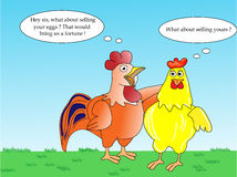 Business talk. Hen and rooster business talk Stock Photography