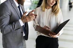 Business Talk Men Women Agenda Notebook Royalty Free Stock Images