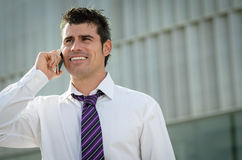 Business talk by phone Stock Images