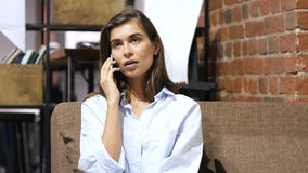 Business Talk on Phone by Girl. High quality Royalty Free Stock Image