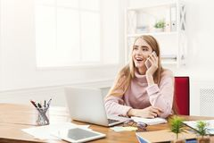 Business talk, woman consulting by phone at office Stock Images