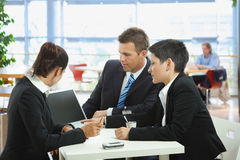 Business talking at cafe Stock Image