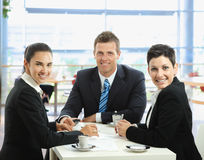 Business talking at cafe Stock Photography