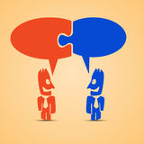 Business talking. Cartoon illustration of business talking of two people with red and blue labels Royalty Free Stock Photos