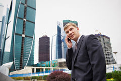 Business talks of man on the phone Stock Image