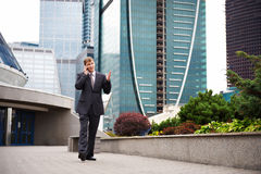 Business talks on the phone Stock Images