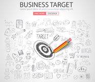 Business Targe Concept with Doodle design style. Finding solution, brainstorming, creative thinking. Modern style illustration for web banners, brochure and Stock Photo