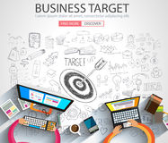 Business Targe Concept with Doodle design style. Finding solution, brainstorming, creative thinking. Modern style illustration for web banners, brochure and Stock Image