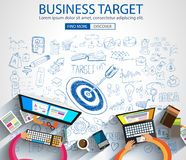 Business Targe Concept with Doodle design style Royalty Free Stock Image
