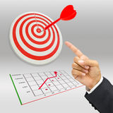 Business target. Businessman's hand point the target Royalty Free Stock Photography