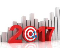 Business target for 2017 with bar chart Stock Image