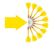 Business target concept, aims, objectives. Aim it here! Darts and arrow on white background Stock Image