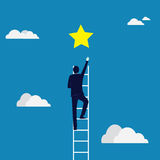 Business Target Concept. Climbing Ladder Reaching Star Royalty Free Stock Images