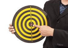 Business target, hand aiming or pointing Royalty Free Stock Image