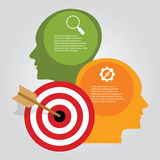 Business target infographic dart board arrow concept of goals achievement heads thinking Stock Photos